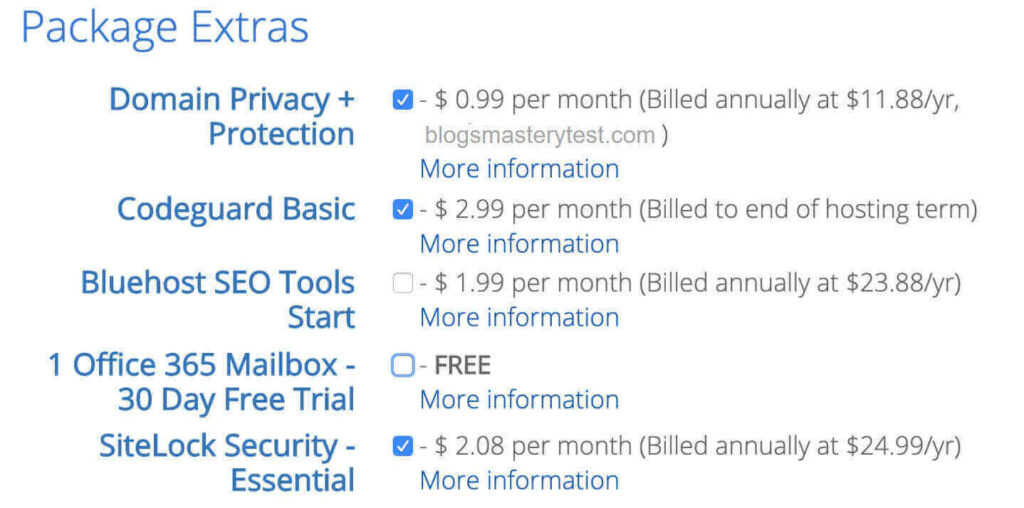 choose extras like domain privacy, domain protection at Bluehost