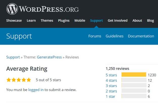 generatepress theme reviews on WordPress.org website