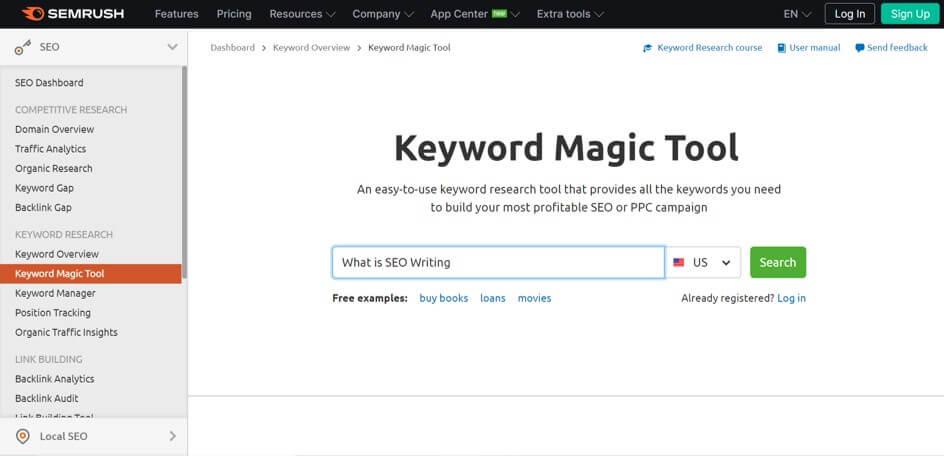 keyword magic tool semrush